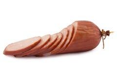 Sausage, salami. On a white background royalty free stock photo