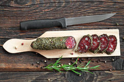 Sausage salami with spices Stock Photo