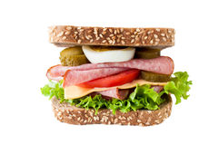 Sausage samdwich isolated Royalty Free Stock Photography