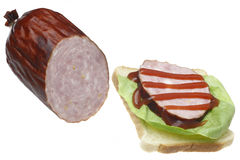 Sausage and sandwich. Royalty Free Stock Photo