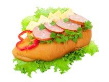 Sausage sandwich Stock Photography