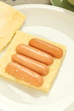 Sausage sandwich cake Stock Image