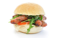Sausage sandwich on white Stock Photography