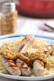 Sausage with sauerkraut Royalty Free Stock Images
