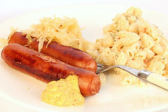 Sausage and Sauerkraut Royalty Free Stock Photos