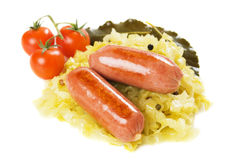 Sausage and sauerkraut isolated on white Royalty Free Stock Image