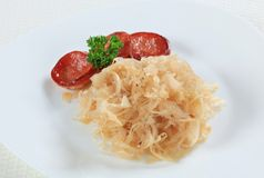 Sausage and sauerkraut Royalty Free Stock Photo