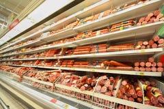 Sausage in shop Stock Photos