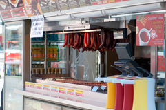 Sausage shop on square Royalty Free Stock Photo