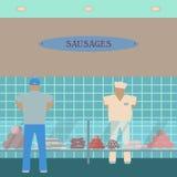 Sausage showcase flat icon. Supermarket glass case Royalty Free Stock Photo