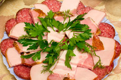 Sausage slices Stock Photo