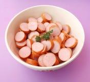 Sausage. Some fresh slices of sausage Stock Photos