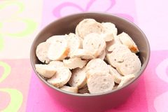 Sausage. Some slices of fresh sausage in a bowl Royalty Free Stock Photo