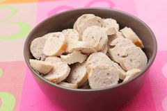Sausage. Some slices of fresh sausage in a bowl Stock Photo