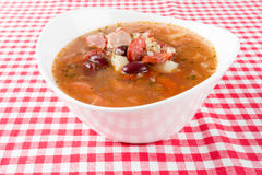 Sausage soup with beans Stock Images