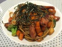 Sausage spaghetti yaki Royalty Free Stock Photo