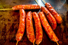 Sausage on a stick, Manizales, Colombia Royalty Free Stock Image