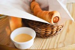 Sausage stuff pretzel Stock Image
