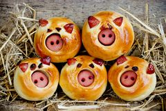 Sausage stuffed piglet buns. On wooden background with straw royalty free stock images