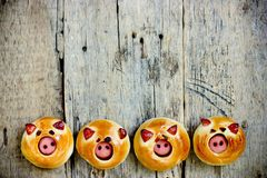 Sausage stuffed piglet buns on wooden background royalty free stock photos