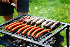 Sausage. Summer grill party with sausage on it Stock Image