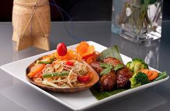 Sausage and Thai Som Tum Salad Royalty Free Stock Images