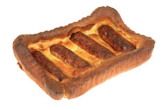 Sausage Toad in the Hole with Chips Stock Photos
