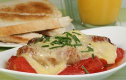 Sausage tomato and cheese. Grilled pork sausage with tomato and toasted cheese Stock Image