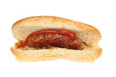 Sausage in a sub roll Royalty Free Stock Photo