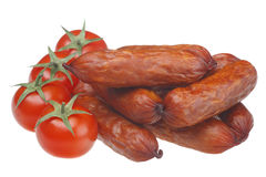 Sausage and tomatoes Royalty Free Stock Photos