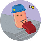 Sausage traveler at the airport with luggage Royalty Free Stock Photography