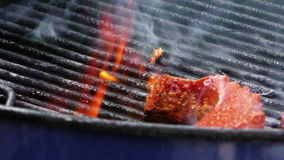 Sausage Turkish Sucuk on Barbecue stock footage