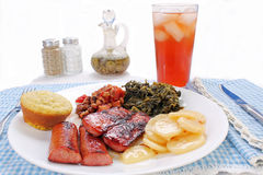 Sausage and Turnip Greens Stock Photos