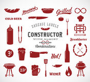 Sausage Vector Flat Icons and Typography Design Royalty Free Stock Photography