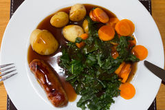 Sausage and Veg Royalty Free Stock Images