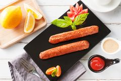 Sausage on white background royalty free stock photography