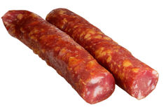 Sausage on a white background Royalty Free Stock Images