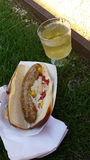 Sausage and White Wine in the Grass Royalty Free Stock Photography