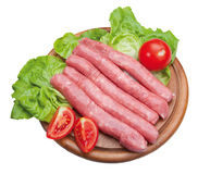 Sausage in wooden chopping isolated Royalty Free Stock Photo