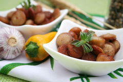 Sausages. Some slices of sausages in a bowl Stock Images