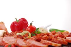 Sausages. Closeup of sausages on white background royalty free stock photos