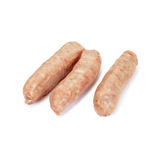 Sausages. Pork sausages isolated on white Stock Photos