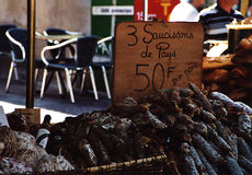 Sausages. At a market place in Southern France stock images