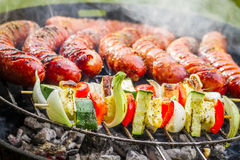 Sausages And Skewers On The Grill Royalty Free Stock Photography