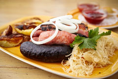 Sausages and bacon mix Royalty Free Stock Image