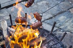 Sausages baking over camp fire. Party with friends stock images