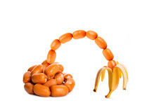 Sausages in banana's peel Royalty Free Stock Photography