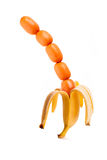Sausages in banana's peel Royalty Free Stock Image