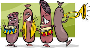 Sausages band cartoon illustration Royalty Free Stock Photos