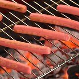 Sausages on Barbecue Stock Image